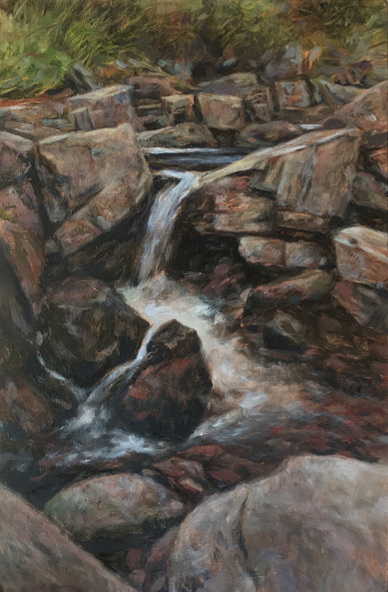 mid wales waterfall painting for sale